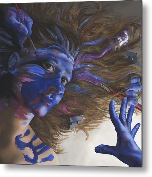 Surreal Metal Print featuring the painting Being Art by Katherine Huck Fernie Howard