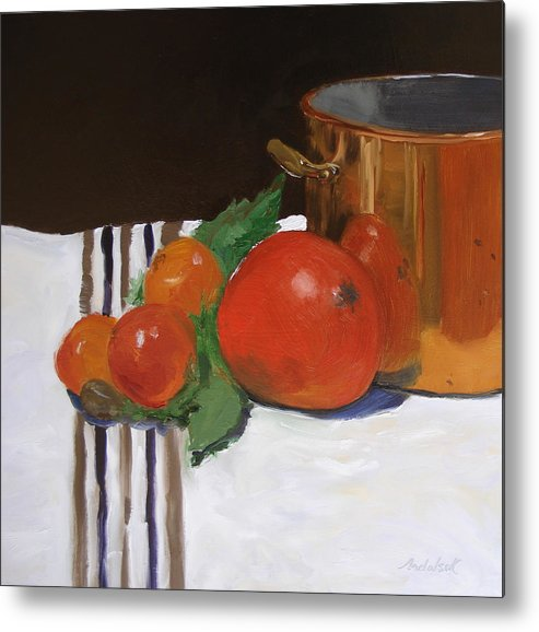 Still Life Metal Print featuring the painting Big Red Tomato by Barbara Andolsek