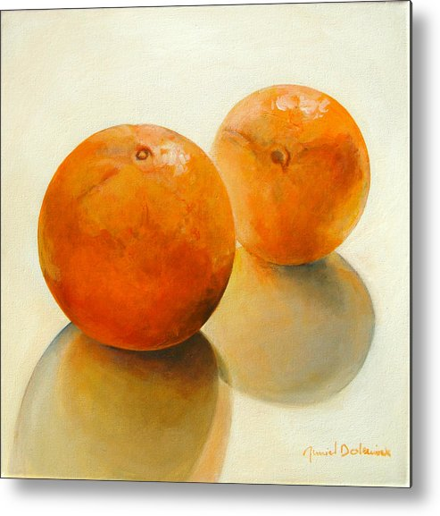 Still Life Metal Print featuring the painting Billes Oranges by Muriel Dolemieux