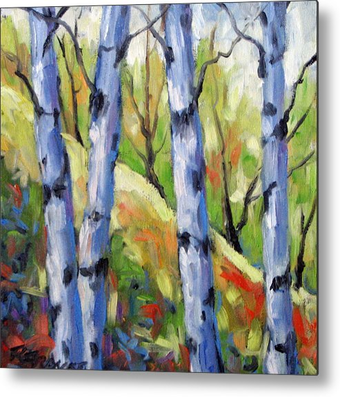 Art Metal Print featuring the painting Birches 09 by Richard T Pranke