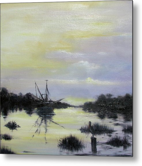 Oil Spill Metal Print featuring the painting Black Bayou by Judy Merrell