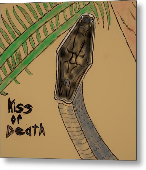 Snake Metal Print featuring the mixed media Black Mamba-kiss Of Death by James Back