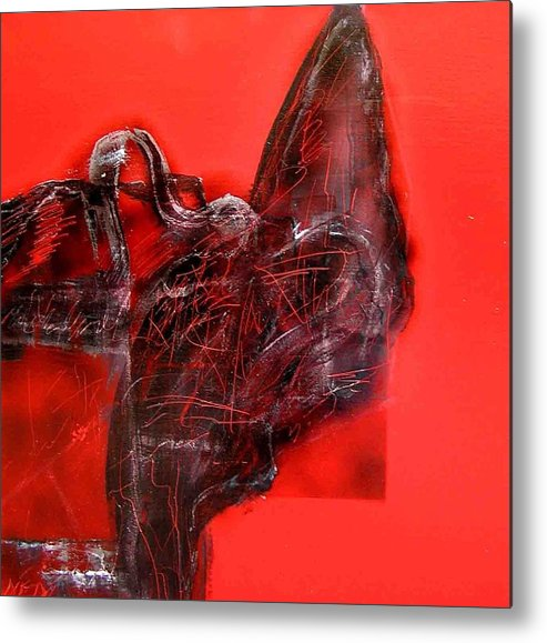 Metal Print featuring the painting Black On Red by Evguenia Men