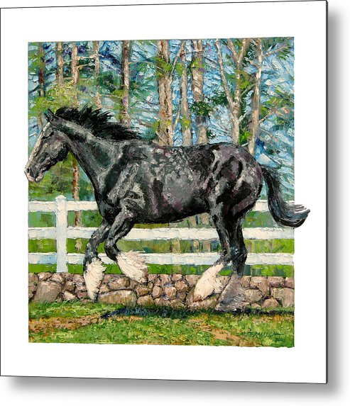 Horse Metal Print featuring the painting Black Power by John Lautermilch