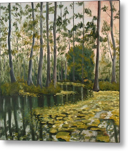 Landscape Metal Print featuring the painting Blackwater Lagoon 2 by Barbara Ryan