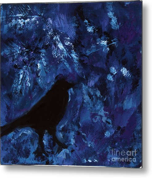 Bird Metal Print featuring the painting Blue Bird by Robin DeLisle