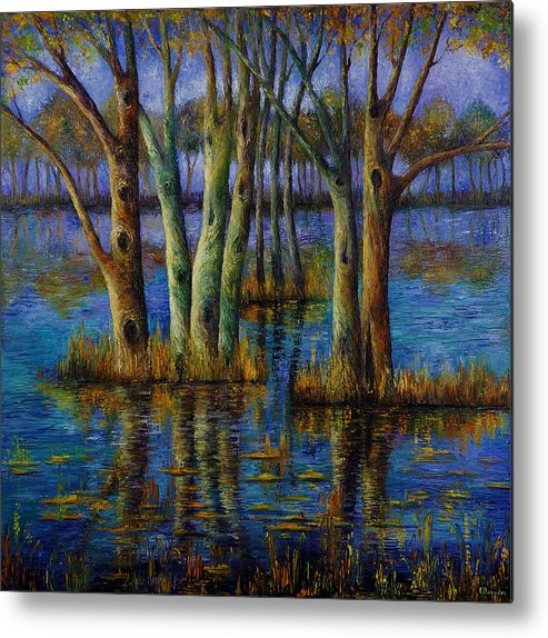 Landscape Metal Print featuring the painting Blue Evening. by Evgenia Davidov