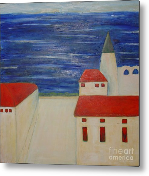 City Mediterrenean Abstract Naive Leilaatkinson Original Paintings Metal Print featuring the painting Blue Med by Leila Atkinson