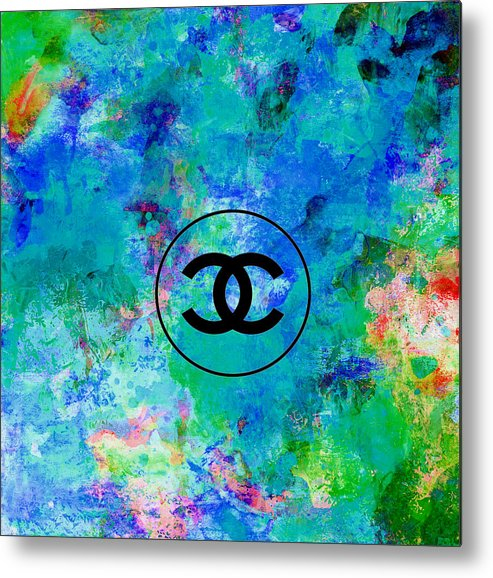 Chanel Metal Print featuring the painting Blue Red Black Chanel Logo Print by Del Art