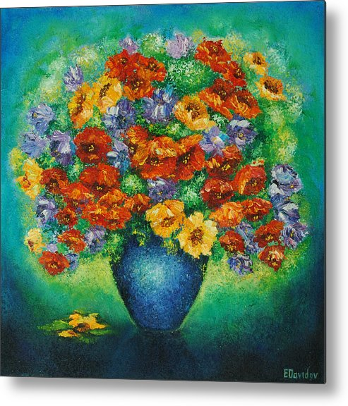 Flowers Metal Print featuring the painting Blue Vase. by Evgenia Davidov