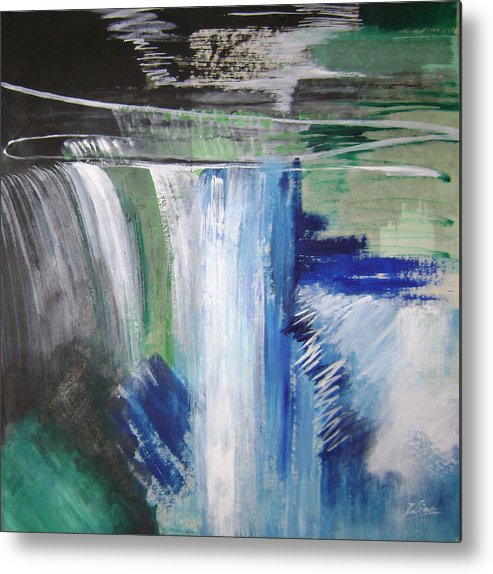 Abstract Metal Print featuring the mixed media Blue Waterfalls by Lian Zhen