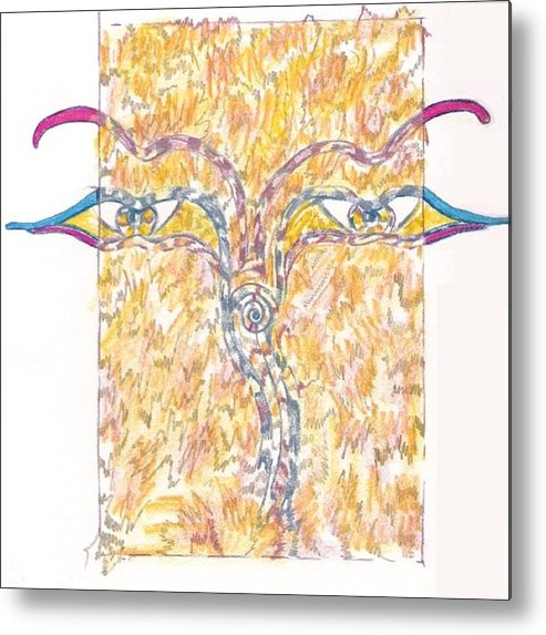 Abstract Metal Print featuring the drawing Bodnath by Wayne Monninger