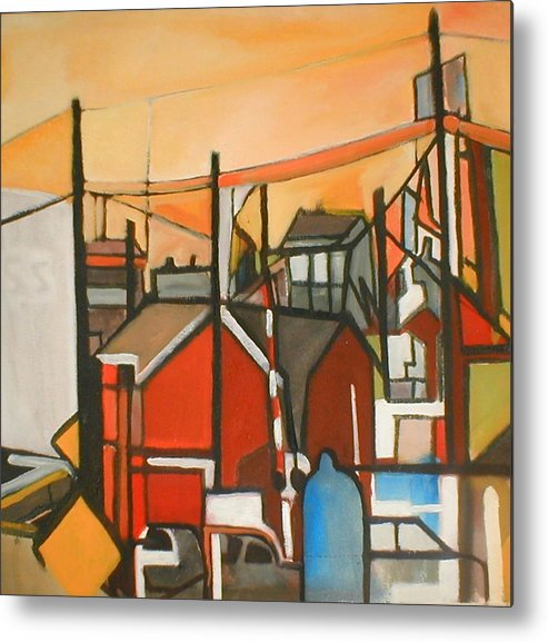 Suburban Metal Print featuring the painting Bogota Industrial by Ron Erickson