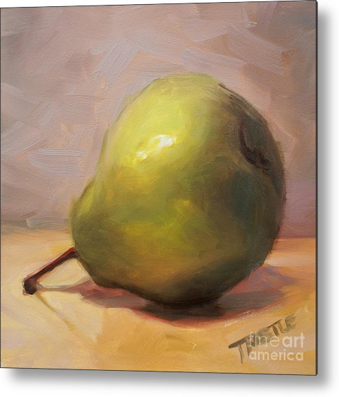 Best Selling Art Prints Metal Print featuring the painting Bottoms Up Green Pear Print by Patti Trostle