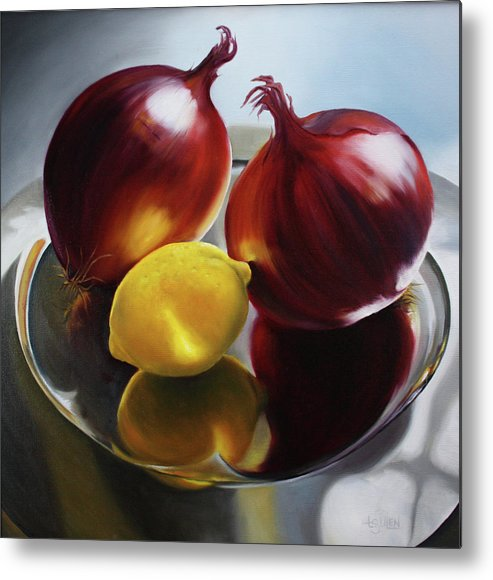 Still Life Metal Print featuring the painting Bruce's Onions by Lorraine Ulen