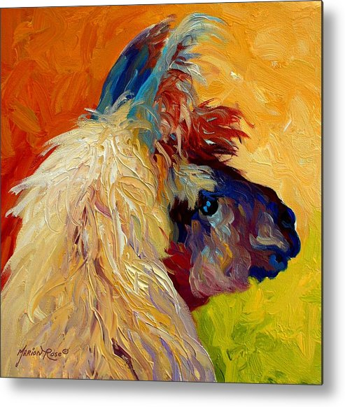 Llama Metal Print featuring the painting Calico Llama by Marion Rose