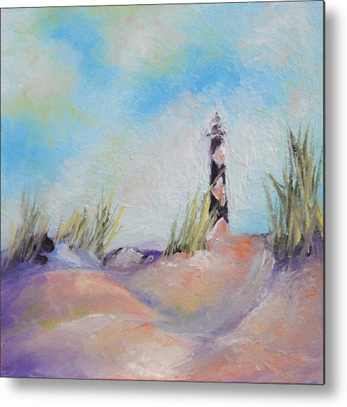 Lighthouse Metal Print featuring the painting Cape Lookout Lighthouse by Donna Pierce-Clark