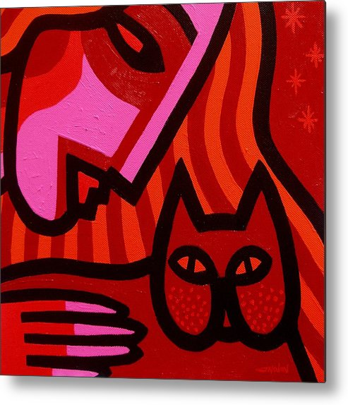 Acrylic Metal Print featuring the painting Cat Woman by John Nolan