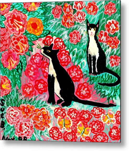 Sue Burgess Metal Print featuring the painting Cats And Roses by Sushila Burgess