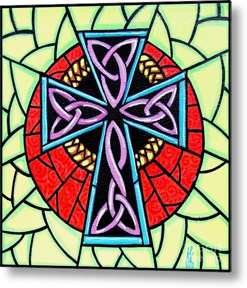Celtic Metal Print featuring the painting Celtic Cross by Jim Harris