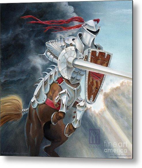 Centaur Metal Print featuring the painting Centaur Joust by Melissa A Benson