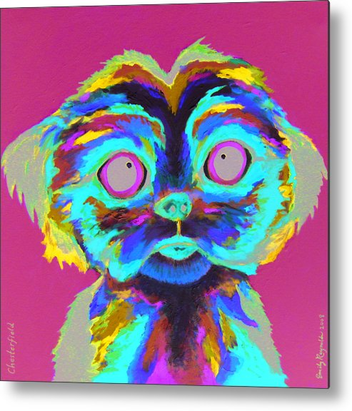Pet Portrait Animal Dog Colorful Whimsical Shihtzu Metal Print featuring the painting Chesterfield by Emily Reynolds Thompson