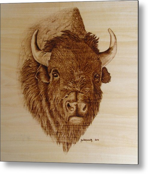 Pyrography Metal Print featuring the pyrography Chief by Jo Schwartz