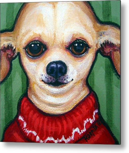 Rebecca Korpita Metal Print featuring the painting Chihuahua In Red Sweater - Boss Dog by Rebecca Korpita