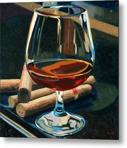 Hampden-sydney College Metal Print featuring the painting Cigars And Brandy by Christopher Mize