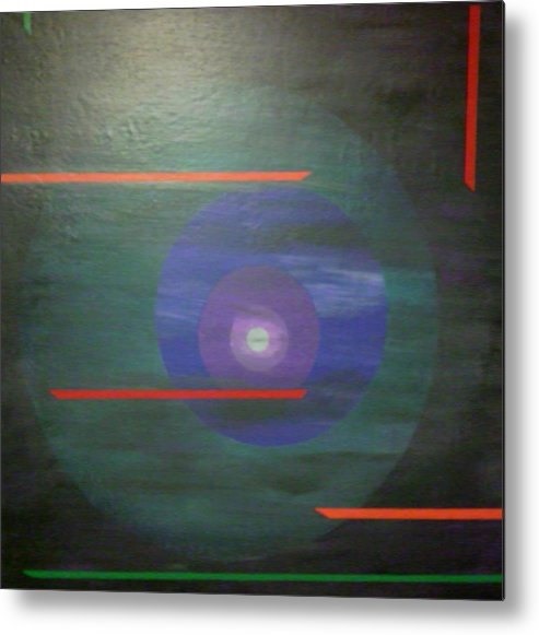 Circle Landscape Abstract Space Metal Print featuring the painting Circle Gets The Square by Sally Van Driest