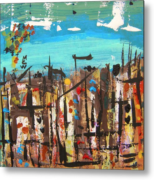 Acrylic Metal Print featuring the painting City Chaos by Mary Carol Williams