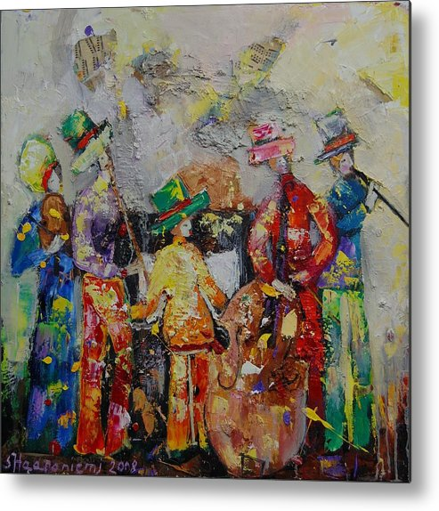 Metal Print featuring the painting Colorful Music by Sari Haapaniemi