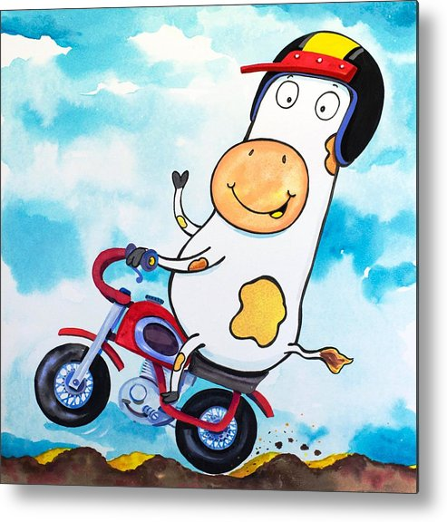 Cow Metal Print featuring the painting Cow Motocross by Scott Nelson