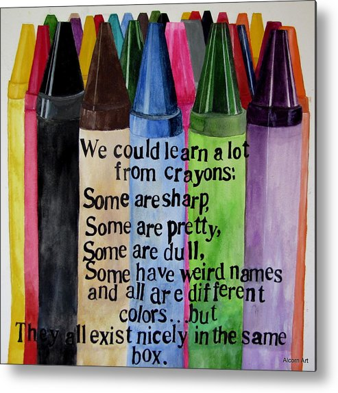 Crayons Metal Print featuring the painting Crayons by Brenda Alcorn