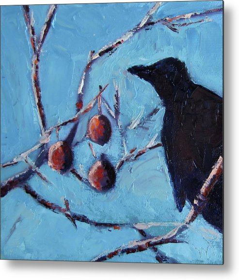 Crow Metal Print featuring the painting Crow by Wendie Thompson