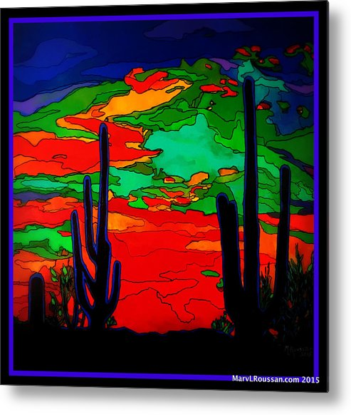 Desert Metal Print featuring the painting Desert Sky by MarvL Roussan