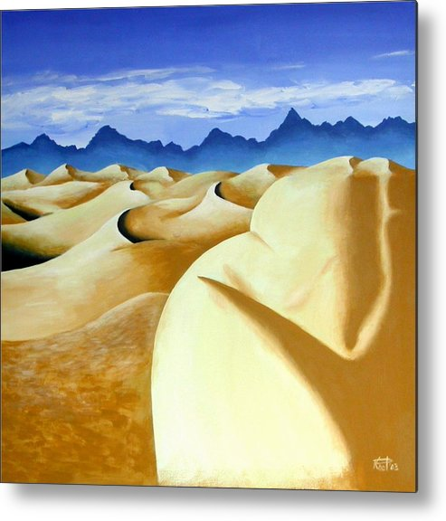 Desert Landscape Nudes Surreal Metal Print featuring the painting Deserted by Poul Costinsky