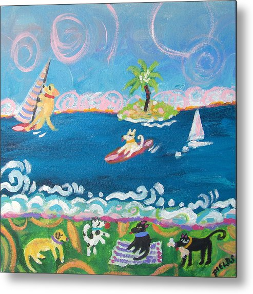 Dogs Metal Print featuring the painting Dog Day At The Beach by Karen Fields