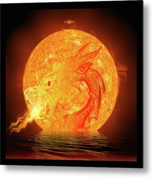 Symbolic Digital Art Metal Print featuring the digital art Dragonbirth by Harald Dastis
