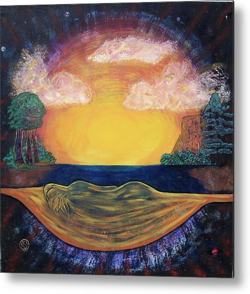 Sunset Golden Goddess Glowing Ocean Horizon Metal Print featuring the painting Dreaming Goddess by Eric Singleton
