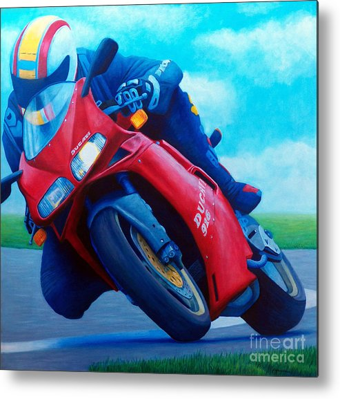 Motorcycle Metal Print featuring the painting Ducati 916 by Brian Commerford