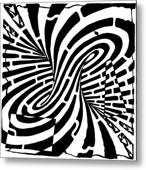 Mobius Metal Print featuring the drawing Edge Of A Mobius Strip Maze by Yonatan Frimer Maze Artist