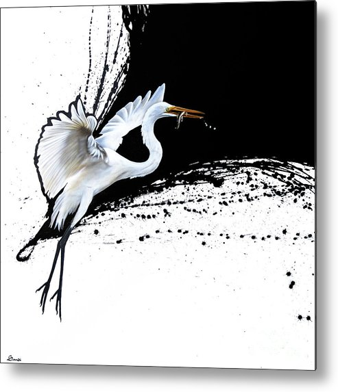 Egret Metal Print featuring the painting Egret 2 by Sandi Baker