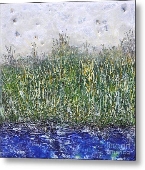 Encaustic Metal Print featuring the painting Encaustic Water Scene by Linda Rutledge