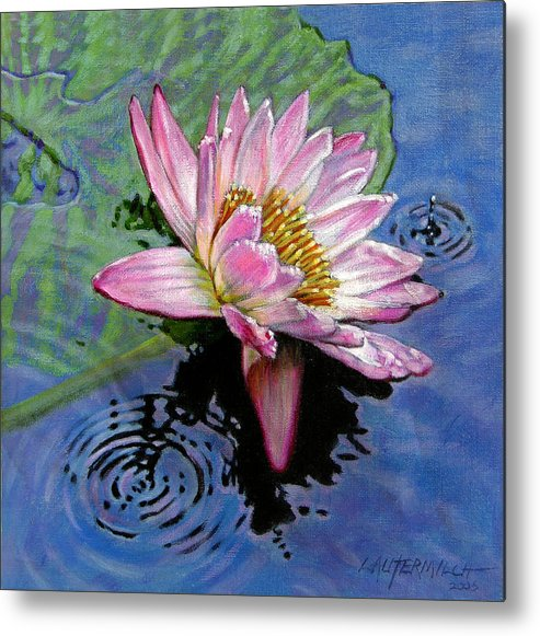 Water Lily Metal Print featuring the painting End Of Summer Shower by John Lautermilch