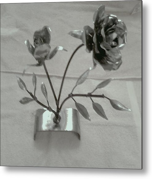 Rose Metal Print featuring the mixed media Eternal Rose by Jeff Orebaugh