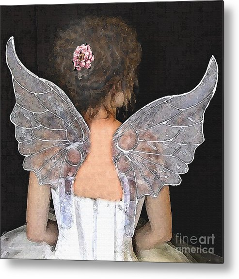 Fairy Painting Metal Print featuring the mixed media Fairy Wings by Lamarr Kramer