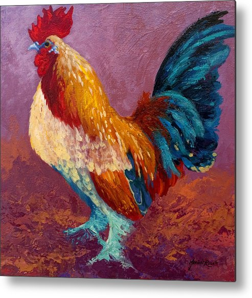 Rooster Metal Print featuring the painting Fancy Pants by Marion Rose