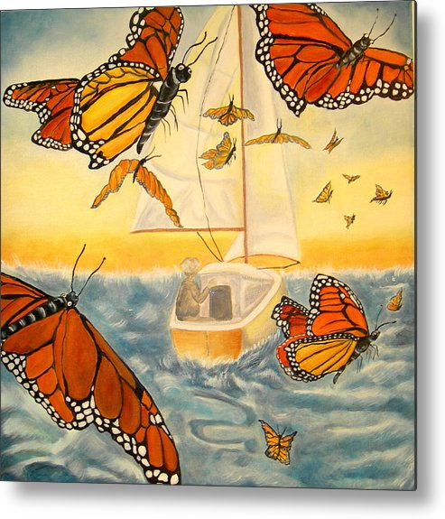 Monarchs Metal Print featuring the painting Flight Of The Monarchs by Kathern Welsh