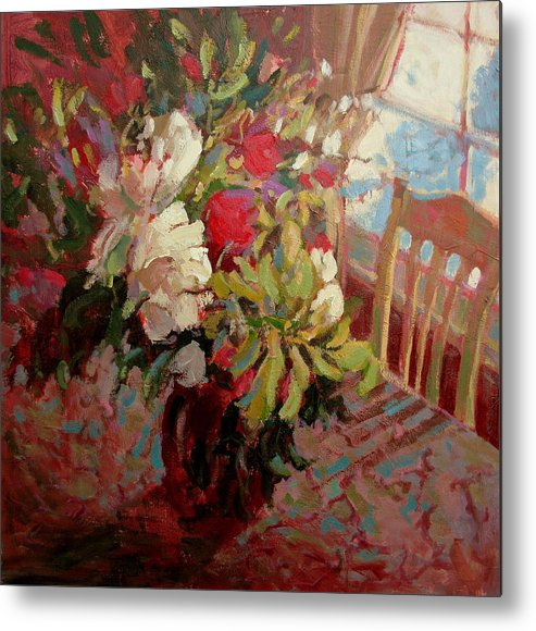 Flowers Metal Print featuring the painting Flowers In Soft Light by Brian Simons